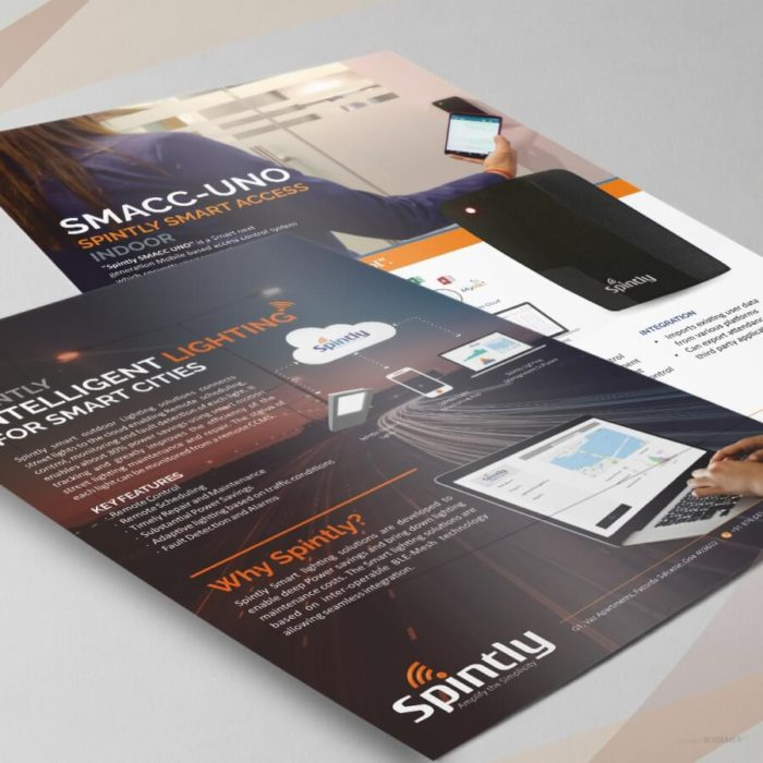 Flyers for Spintly Smart Access Control and lighting designed by Soidemer