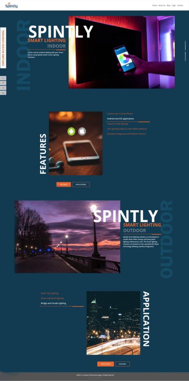 Website for Spintly Smart lighting designed and developed by Soidemer